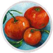 Three Tangerines Still Life Grace Venditti Montreal Art Round Beach Towel