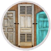 Three Taos Doors Round Beach Towel