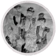 Three Tenors And A Pianist Round Beach Towel