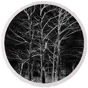 Three Trees In Black And White Round Beach Towel