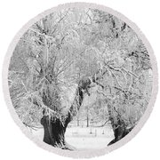 Three Trees In The Snow - Bw Fine Art Photography Print Round Beach Towel
