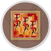Three Tribal Dancers L A With Decorative Ornate Printed Frame. Round Beach Towel