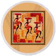 Three Tribal Dancers L B With Alt. Decorative Ornate Printed Frame. Round Beach Towel