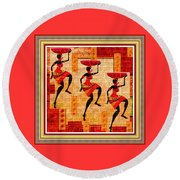 Three Tribal Dancers L B With Decorative Ornate Printed Frame Round Beach Towel