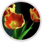 Three Tulips Photo Art Round Beach Towel