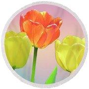 Three Tulips. Round Beach Towel