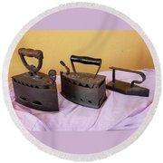 Three Vintage Irons Round Beach Towel
