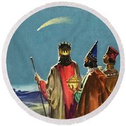 Three Wise Men Round Beach Towel by English School
