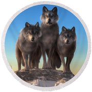 Three Wolves Watching You Round Beach Towel