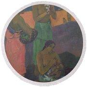 Three Women On The Seashore Round Beach Towel by Paul Gauguin