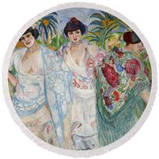 Three Women With Shawls Round Beach Towel