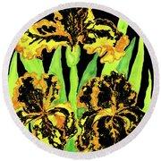 Three Yellow-black Irises, Painting Round Beach Towel