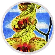 Three Yellow Orchid Blooms Round Beach Towel