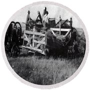 Threshing Day Round Beach Towel