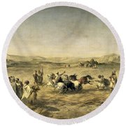 Threshing Wheat In Algeria Round Beach Towel