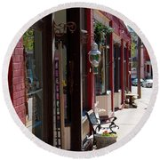 Thrift Shop And Sign In Manitou Springs Round Beach Towel