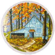 Through The Deep Woods Round Beach Towel