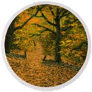 Through The Fallen Leaves Round Beach Towel