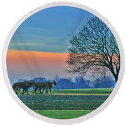Through The Fields Round Beach Towel