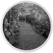 Through The Forest Canopy Black And White Round Beach Towel