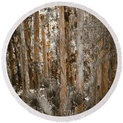 Through The Forest Trees Round Beach Towel
