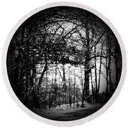 Through The Lens- Black And White Round Beach Towel