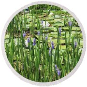 Through The Lily Pond Round Beach Towel