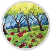 Through The Meadows Round Beach Towel