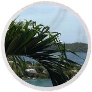Through The Palms Round Beach Towel