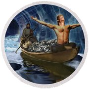 Through The Rapids Round Beach Towel