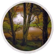 Through The Trees. Round Beach Towel