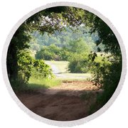 Through The Woods Round Beach Towel