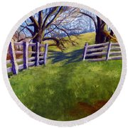 Throught The Pasture Gate Round Beach Towel