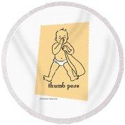 Thumb Pose Round Beach Towel