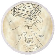 Thumb Wrestling Game Patent 1991 - Vintage Round Beach Towel
