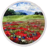 Thunder Clouds Over Bavarian Meadow Round Beach Towel