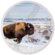 Thunder In The Snow Round Beach Towel