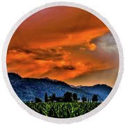 Thunder Storm In The Valley Round Beach Towel