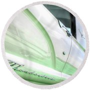 Thunderbird Abstract In Mint And White Round Beach Towel