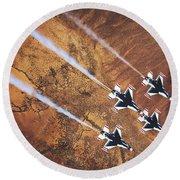 Thunderbirds In Diamond Roll Formation Round Beach Towel