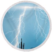 Thunderbolts From Heaven Round Beach Towel