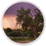 Thunderstorm In The Woods Round Beach Towel