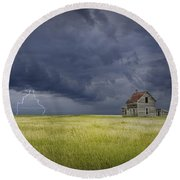 Thunderstorm On The Prairie Round Beach Towel