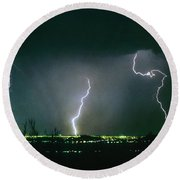 Thunderstorm View From North Scottsdale Arizona Round Beach Towel