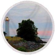 Tibbetts Point Light Sunset Round Beach Towel
