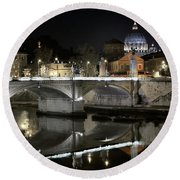 Tiber's Reflection Of Religion Round Beach Towel