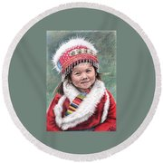 Tibetan Girl Round Beach Towel