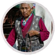 Tibetan Grandmother In Meditation Round Beach Towel