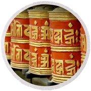 Tibetan Prayer Wheel  Round Beach Towel