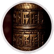 Tibetan Prayer Wheel Round Beach Towel